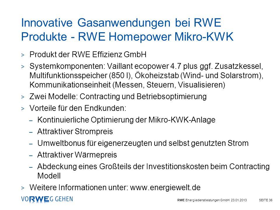 RWE Energiedienstleistungen GmbH 23.01.2013SEITE 36 > Produkt der RWE Effizienz GmbH > Systemkomponenten: Vaillant ecopower 4.7 plus ggf. Zusatzkessel