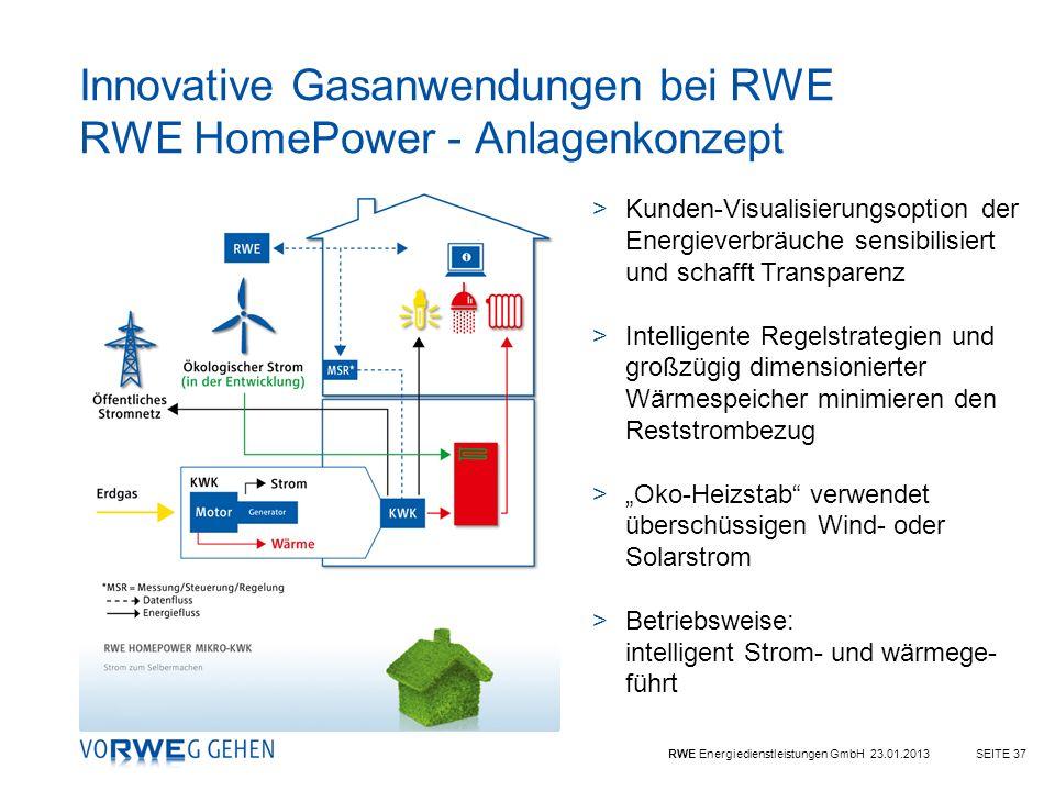 RWE Energiedienstleistungen GmbH 23.01.2013SEITE 37 Innovative Gasanwendungen bei RWE RWE HomePower - Anlagenkonzept >Kunden-Visualisierungsoption der