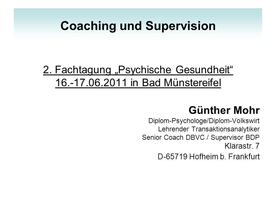 Fragestellungen Ziele Grundelemente in Coaching und Supervision Integrative Modelle für Coaching und Supervision betrachten