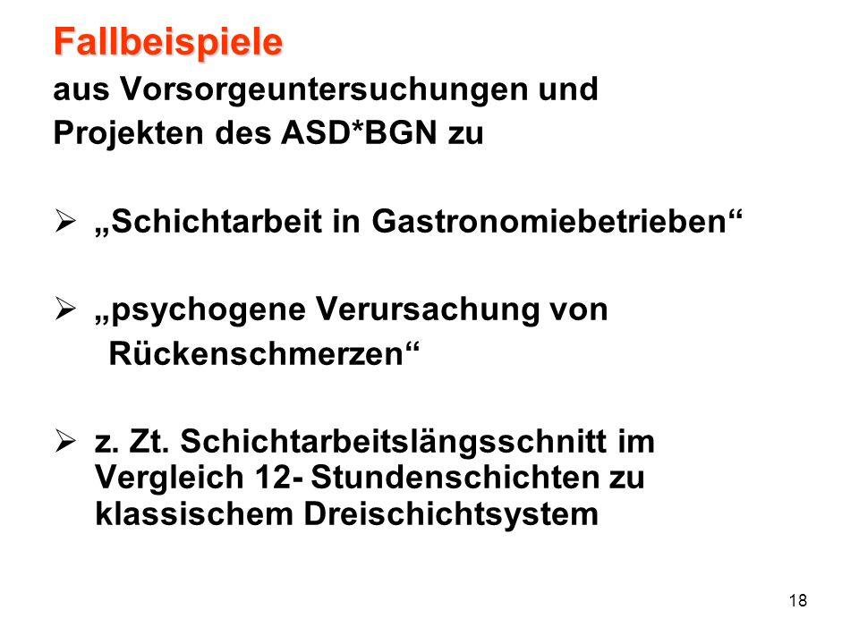 18 Fallbeispiele aus Vorsorgeuntersuchungen und Projekten des ASD*BGN zu Schichtarbeit in Gastronomiebetrieben psychogene Verursachung von Rückenschme