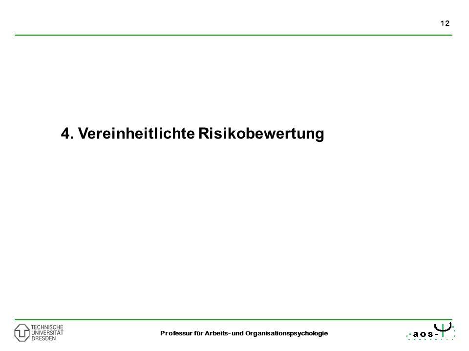 12 Professur für Arbeits- und Organisationspsychologie 4. Vereinheitlichte Risikobewertung