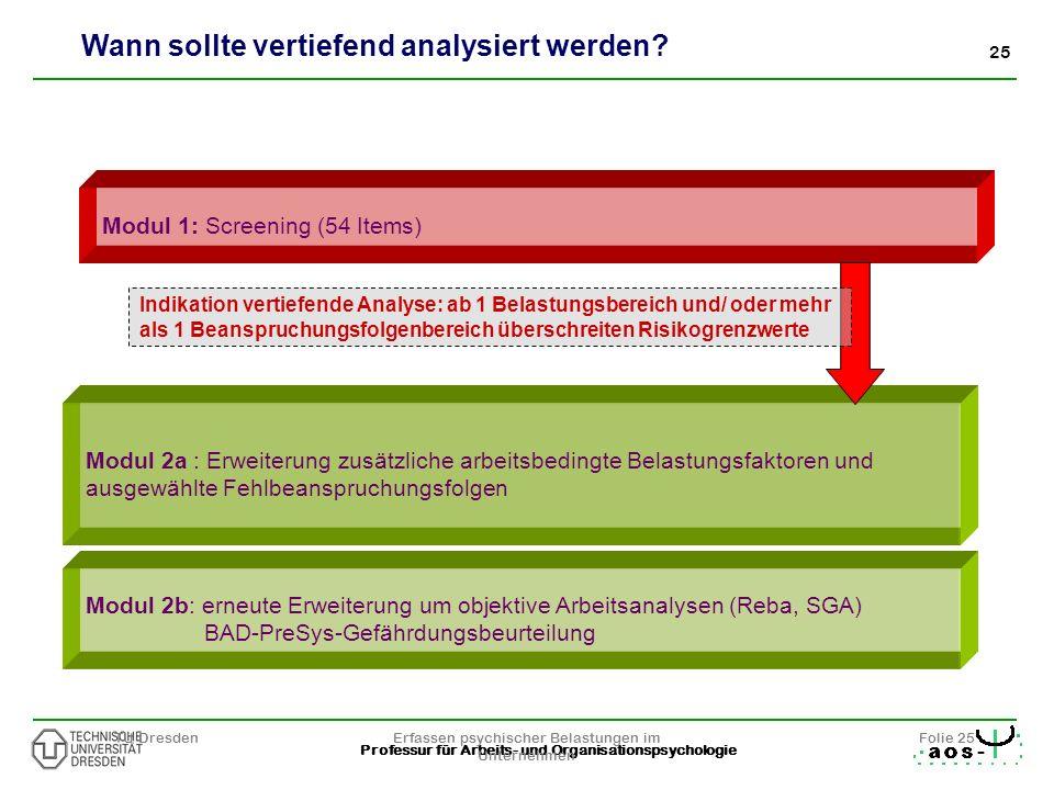 25 Professur für Arbeits- und Organisationspsychologie TU DresdenErfassen psychischer Belastungen im Unternehmen Folie 25 Modul 1: Screening (54 Items
