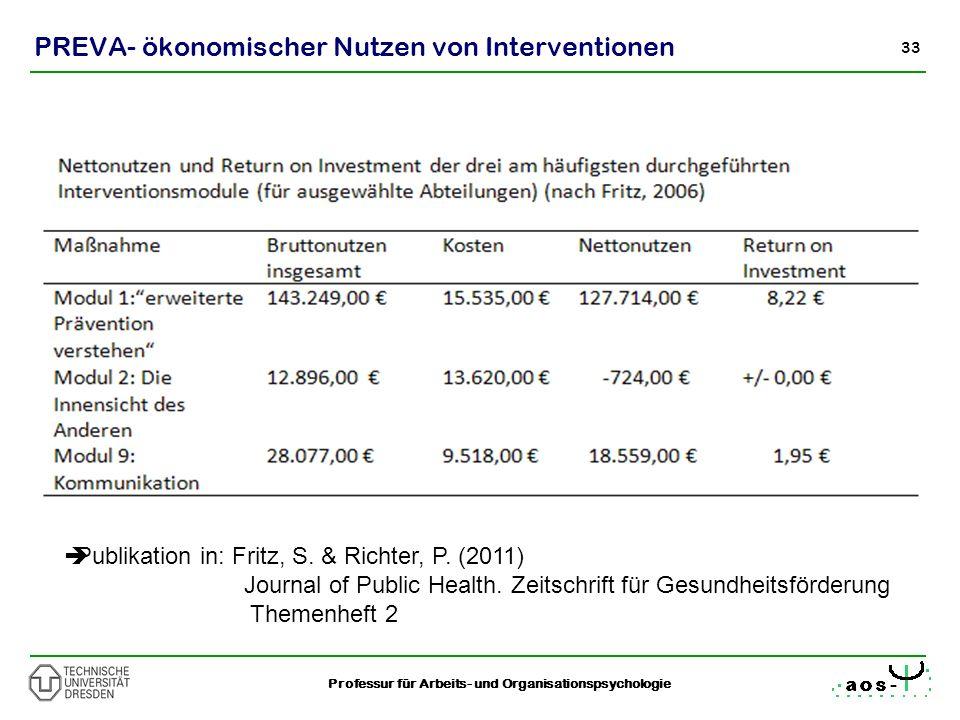 33 Professur für Arbeits- und Organisationspsychologie PREVA- ökonomischer Nutzen von Interventionen Publikation in: Fritz, S. & Richter, P. (2011) Jo