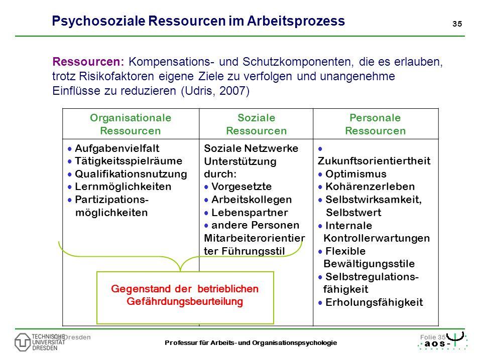 35 Professur für Arbeits- und Organisationspsychologie TU DresdenFolie 35 Organisationale Ressourcen Soziale Ressourcen Personale Ressourcen Aufgabenv