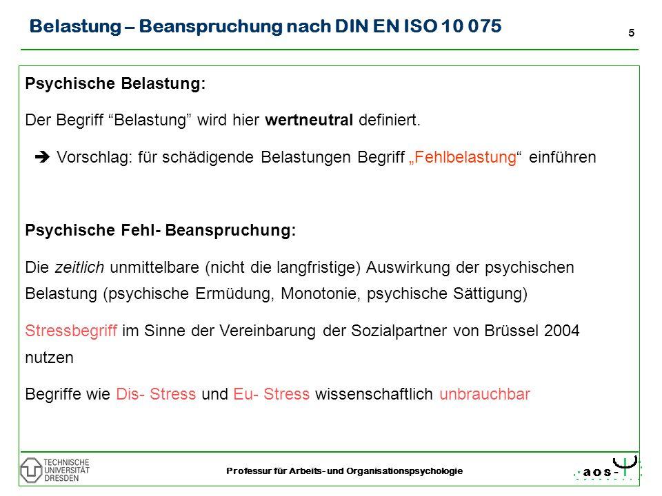 5 Professur für Arbeits- und Organisationspsychologie Belastung – Beanspruchung nach DIN EN ISO 10 075 Psychische Belastung: Der Begriff Belastung wir