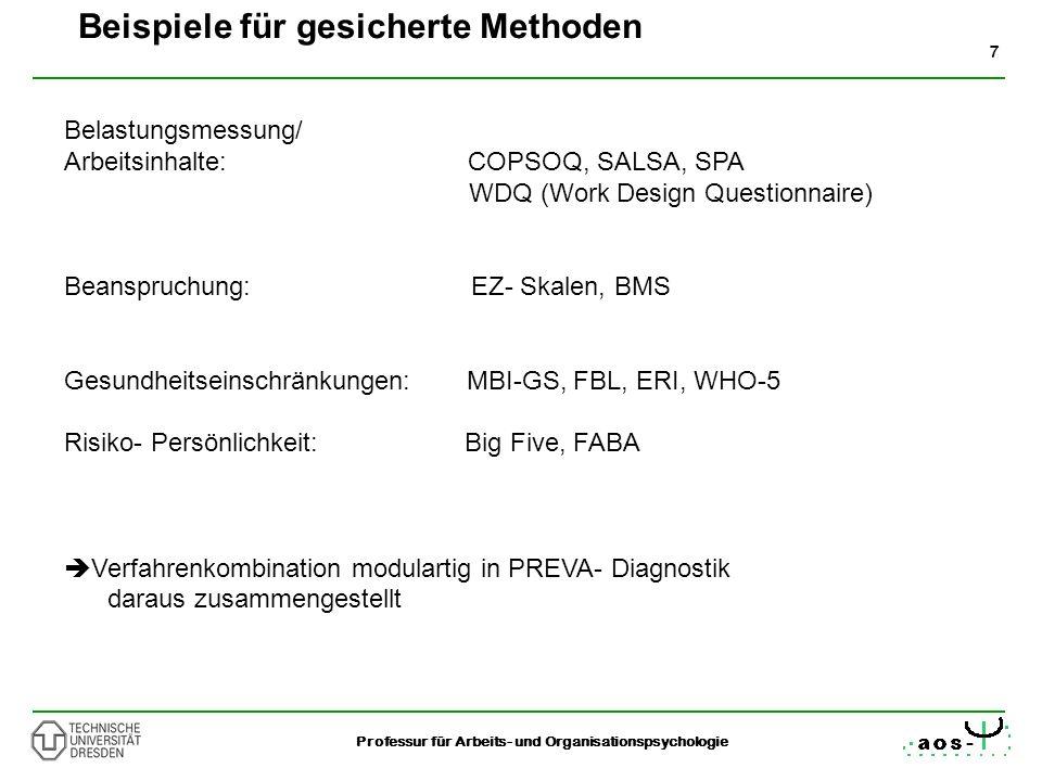 7 Professur für Arbeits- und Organisationspsychologie Belastungsmessung/ Arbeitsinhalte: COPSOQ, SALSA, SPA WDQ (Work Design Questionnaire) Beanspruch