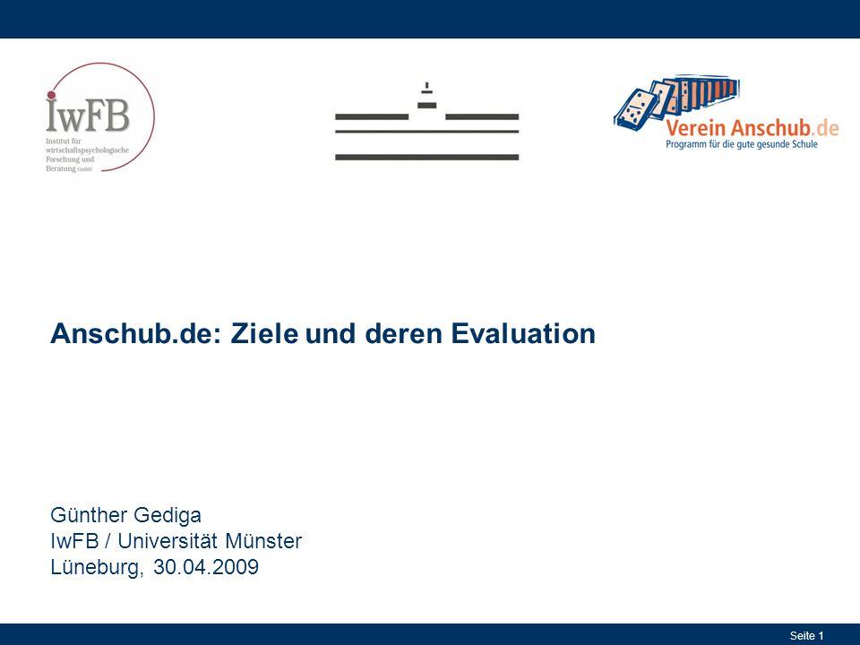 Seite 1 Anschub.de: Ziele und deren Evaluation Günther Gediga IwFB / Universität Münster Lüneburg, 30.04.2009
