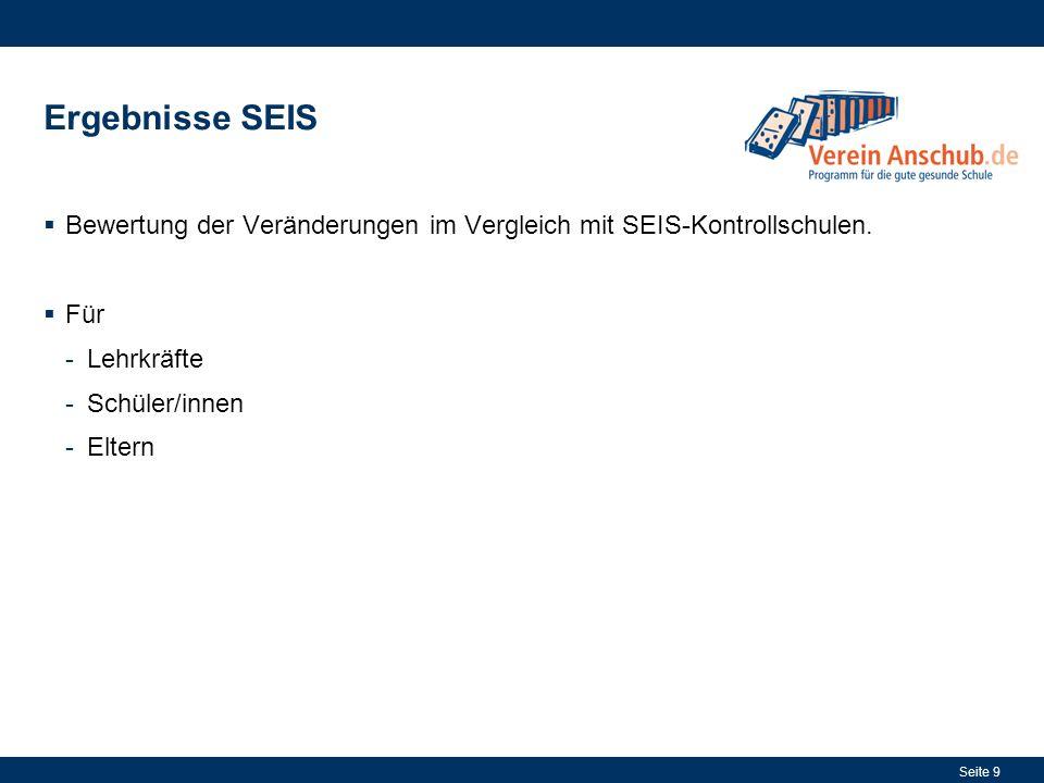 Seite 9 Ergebnisse SEIS Bewertung der Veränderungen im Vergleich mit SEIS-Kontrollschulen. Für -Lehrkräfte -Schüler/innen -Eltern