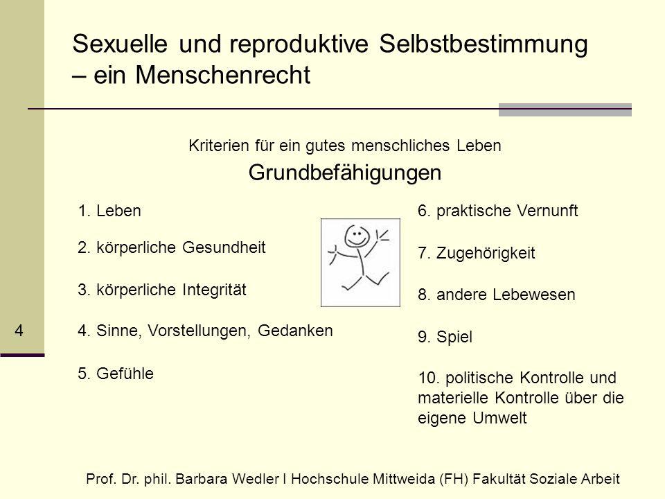 Sexuelle und reproduktive Selbstbestimmung – ein Menschenrecht Kriterien für ein gutes menschliches Leben Grundbefähigungen Prof.