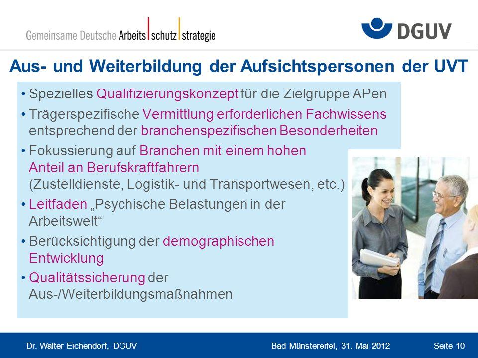 Bad Münstereifel, 31. Mai 2012 Dr. Walter Eichendorf, DGUV Seite 10 Aus- und Weiterbildung der Aufsichtspersonen der UVT Spezielles Qualifizierungskon