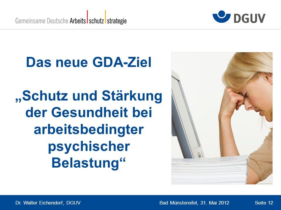 Bad Münstereifel, 31. Mai 2012 Dr. Walter Eichendorf, DGUV Seite 12 Das neue GDA-Ziel Schutz und Stärkung der Gesundheit bei arbeitsbedingter psychisc