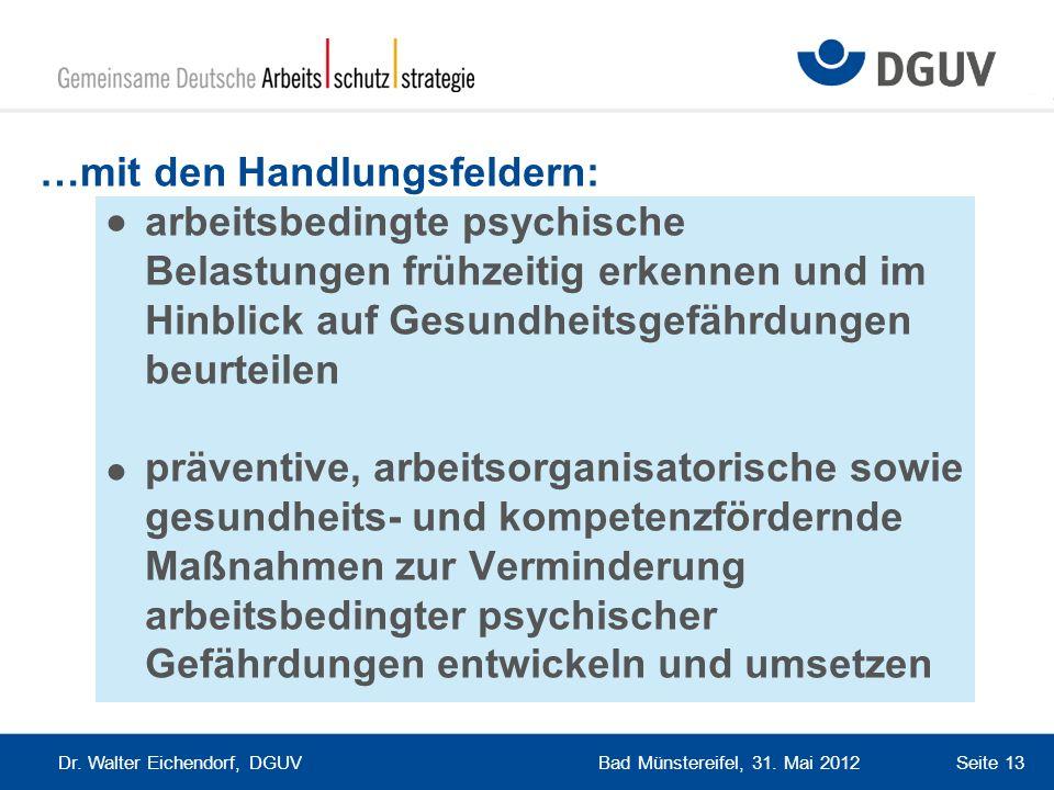 Bad Münstereifel, 31. Mai 2012 Dr. Walter Eichendorf, DGUV Seite 13 …mit den Handlungsfeldern: arbeitsbedingte psychische Belastungen frühzeitig erken