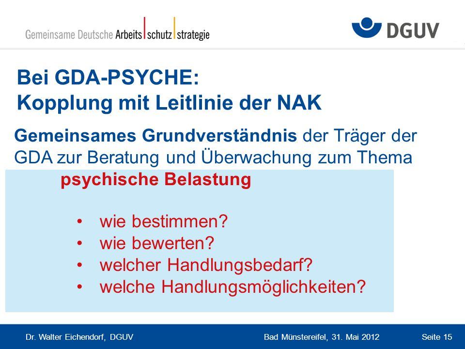 Bad Münstereifel, 31. Mai 2012 Dr. Walter Eichendorf, DGUV Seite 15 Bei GDA-PSYCHE: Kopplung mit Leitlinie der NAK wie bestimmen? wie bewerten? welche
