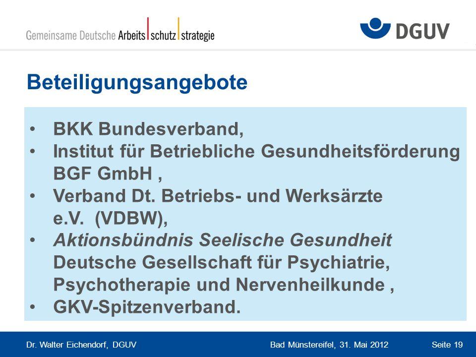 Bad Münstereifel, 31. Mai 2012 Dr. Walter Eichendorf, DGUV Seite 19 Beteiligungsangebote BKK Bundesverband, Institut für Betriebliche Gesundheitsförde