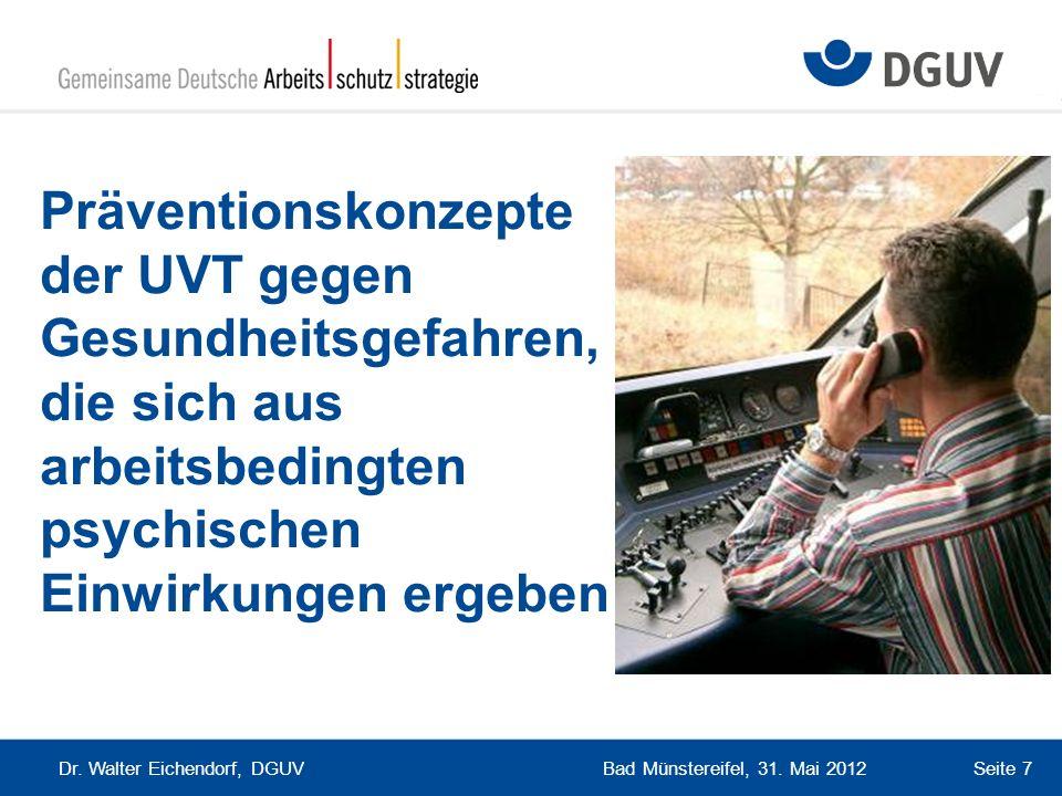 Bad Münstereifel, 31. Mai 2012 Dr. Walter Eichendorf, DGUV Seite 7 Präventionskonzepte der UVT gegen Gesundheitsgefahren, die sich aus arbeitsbedingte