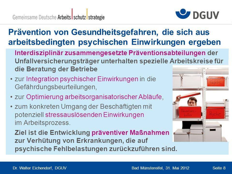 Bad Münstereifel, 31. Mai 2012 Dr. Walter Eichendorf, DGUV Seite 8 Prävention von Gesundheitsgefahren, die sich aus arbeitsbedingten psychischen Einwi