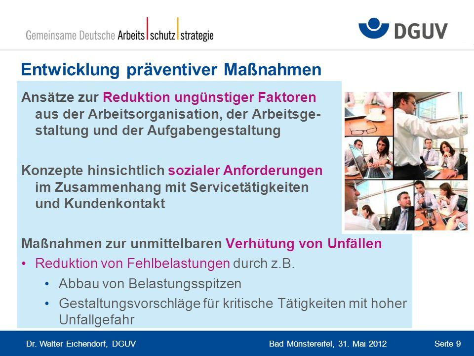 Bad Münstereifel, 31. Mai 2012 Dr. Walter Eichendorf, DGUV Seite 9 Entwicklung präventiver Maßnahmen Ansätze zur Reduktion ungünstiger Faktoren aus de