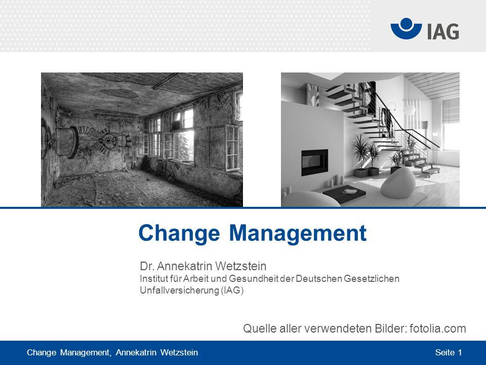 Change Management, Annekatrin Wetzstein Seite 1 Dr. Annekatrin Wetzstein Institut für Arbeit und Gesundheit der Deutschen Gesetzlichen Unfallversicher