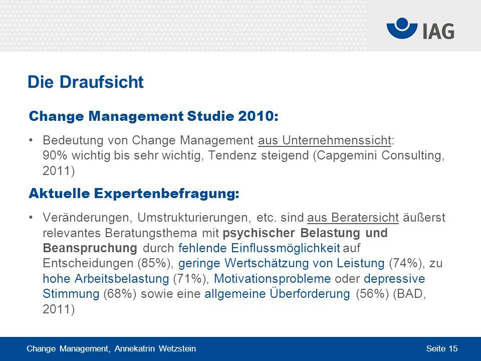 Change Management, Annekatrin Wetzstein Seite 15 Die Draufsicht Change Management Studie 2010: Bedeutung von Change Management aus Unternehmenssicht: