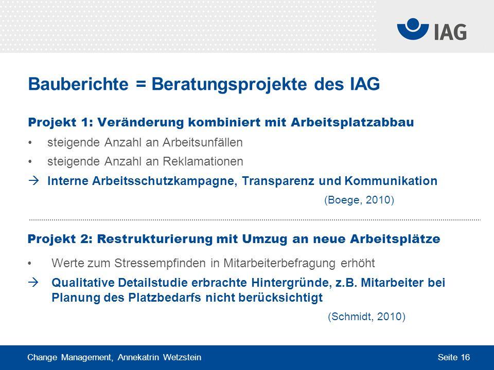 Change Management, Annekatrin Wetzstein Seite 16 Bauberichte = Beratungsprojekte des IAG Projekt 1: Veränderung kombiniert mit Arbeitsplatzabbau steig