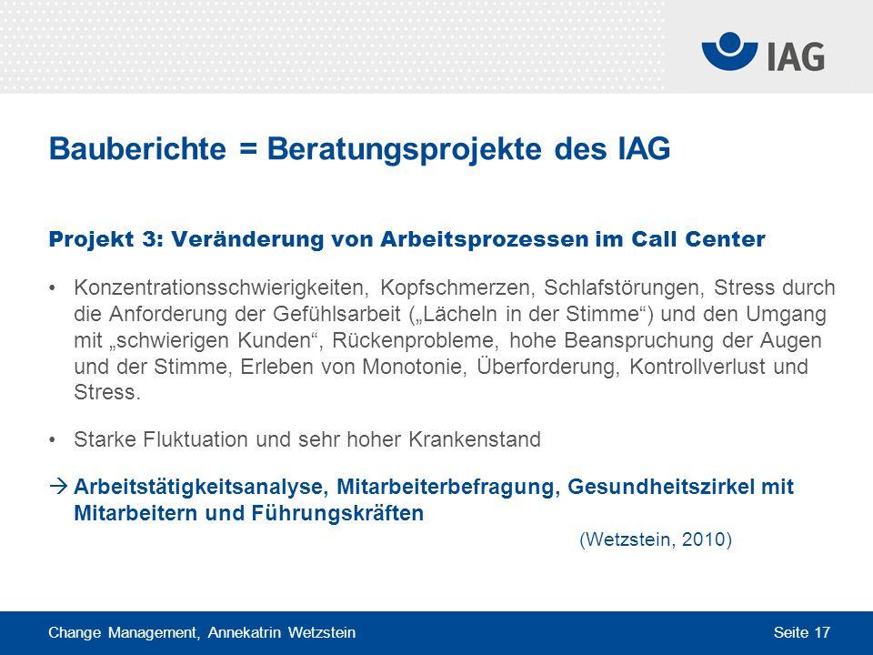 Change Management, Annekatrin Wetzstein Seite 17 Bauberichte = Beratungsprojekte des IAG Projekt 3: Veränderung von Arbeitsprozessen im Call Center Ko
