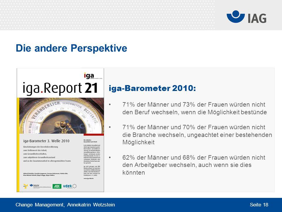Change Management, Annekatrin Wetzstein Seite 18 Die andere Perspektive iga-Barometer 2010: 71% der Männer und 73% der Frauen würden nicht den Beruf w