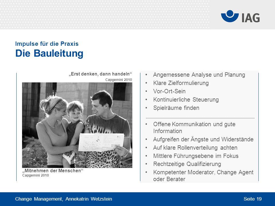 Change Management, Annekatrin Wetzstein Seite 19 Impulse für die Praxis Die Bauleitung Angemessene Analyse und Planung Klare Zielformulierung Vor-Ort-