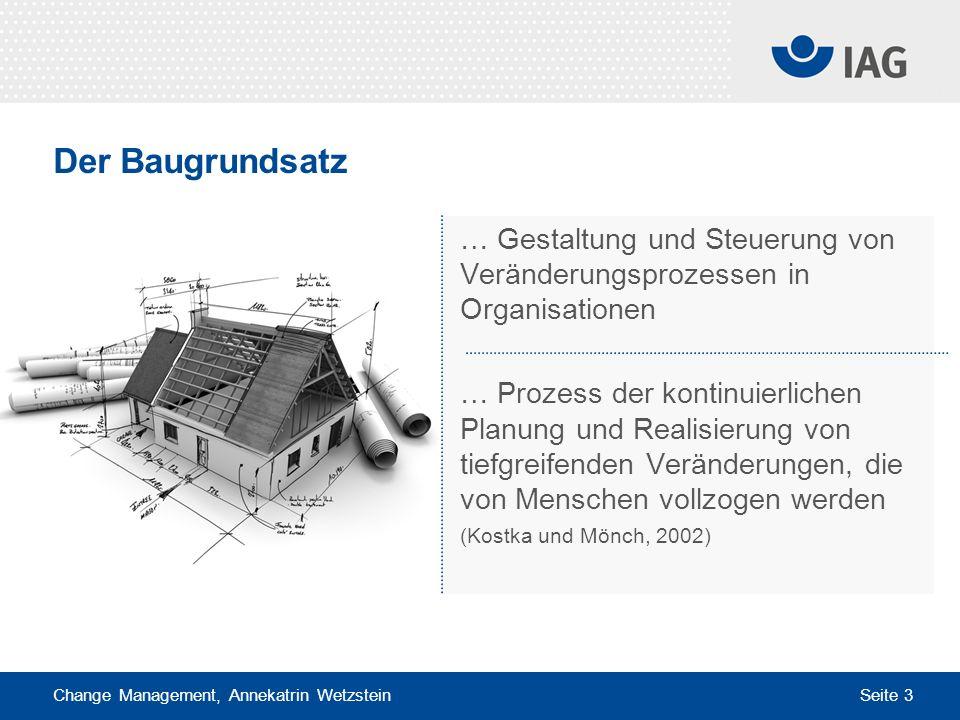 Change Management, Annekatrin Wetzstein Seite 3 Der Baugrundsatz … Gestaltung und Steuerung von Veränderungsprozessen in Organisationen … Prozess der