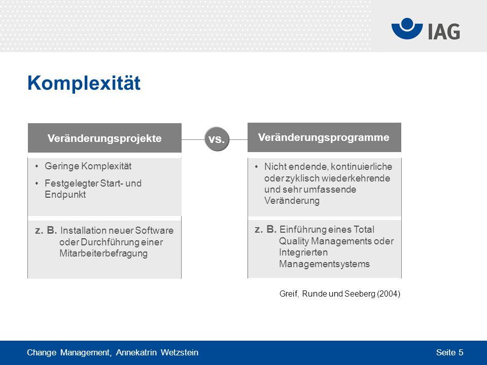 Change Management, Annekatrin Wetzstein Seite 5 z. B. Installation neuer Software oder Durchführung einer Mitarbeiterbefragung z. B. Einführung eines