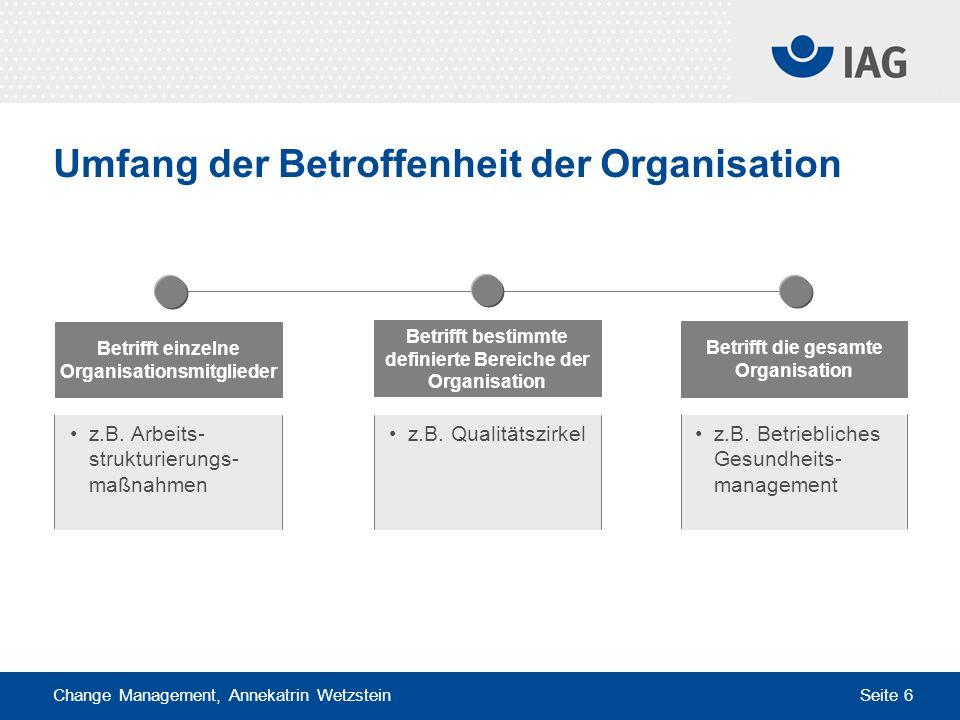 Change Management, Annekatrin Wetzstein Seite 6 Umfang der Betroffenheit der Organisation Betrifft bestimmte definierte Bereiche der Organisation Betr