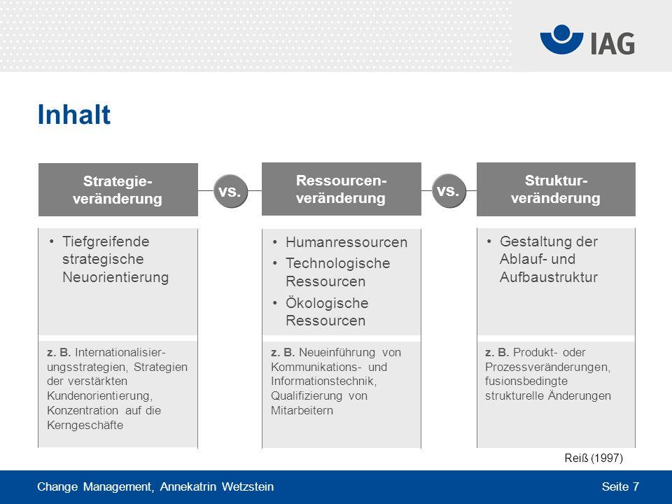 Change Management, Annekatrin Wetzstein Seite 7 Humanressourcen Technologische Ressourcen Ökologische Ressourcen Inhalt Ressourcen- veränderung Strate