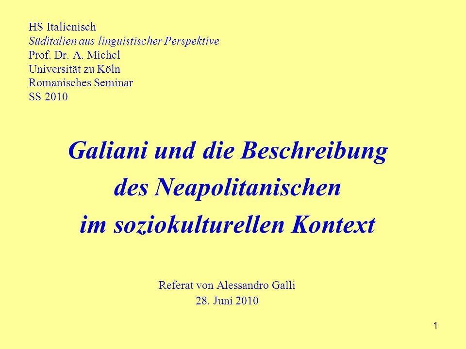 1 HS Italienisch Süditalien aus linguistischer Perspektive Prof.