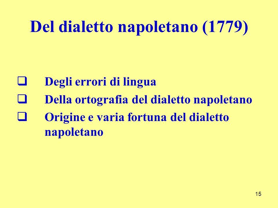 Del dialetto napoletano (1779) Degli errori di lingua Della ortografia del dialetto napoletano Origine e varia fortuna del dialetto napoletano 15