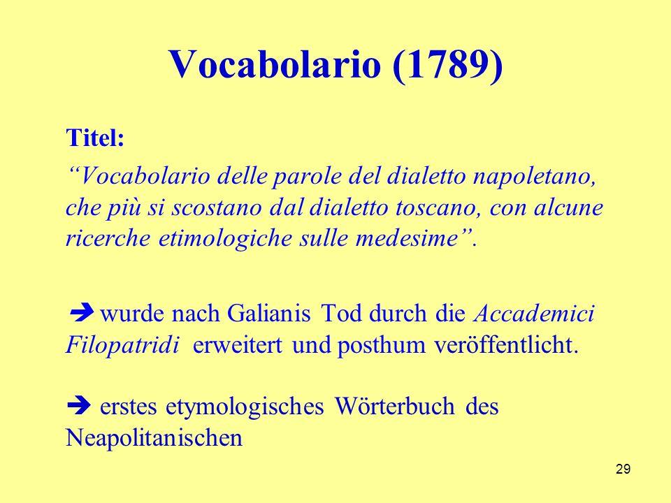 Vocabolario (1789) Titel: Vocabolario delle parole del dialetto napoletano, che più si scostano dal dialetto toscano, con alcune ricerche etimologiche sulle medesime.