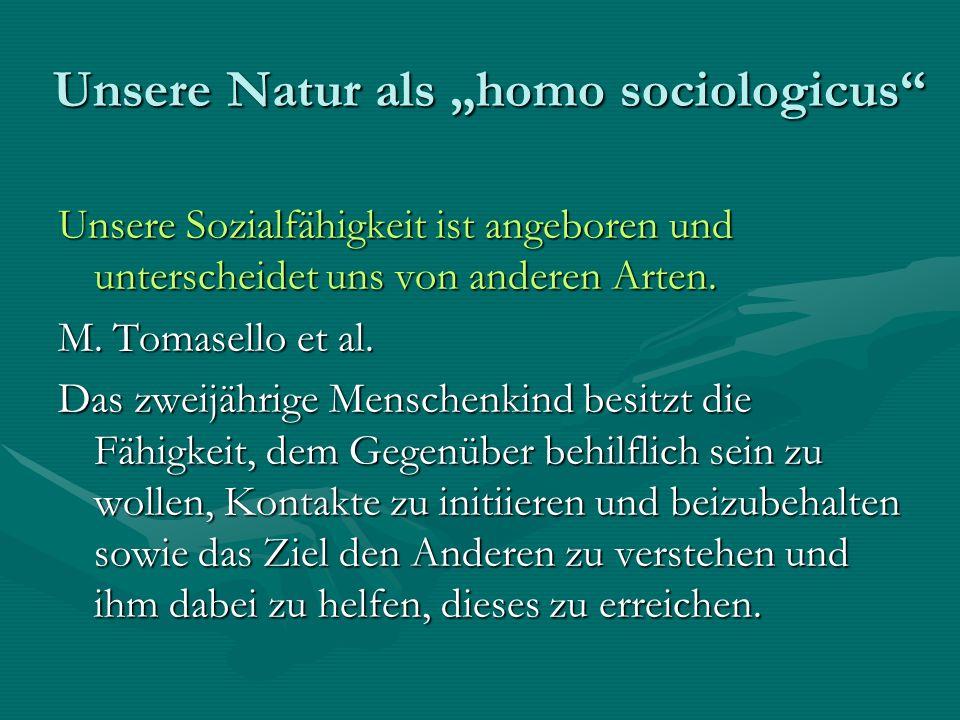 Unsere Natur als homo sociologicus Unsere Sozialfähigkeit ist angeboren und unterscheidet uns von anderen Arten.