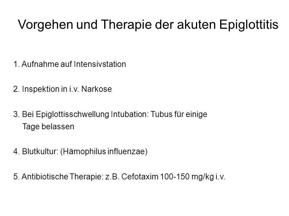 Vorgehen und Therapie der akuten Epiglottitis 1. Aufnahme auf Intensivstation 2. Inspektion in i.v. Narkose 3. Bei Epiglottisschwellung Intubation: Tu