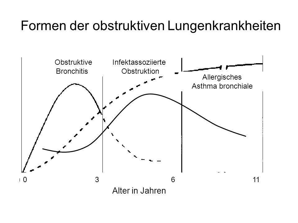 0 3 6 11 Alter in Jahren Formen der obstruktiven Lungenkrankheiten Obstruktive Bronchitis Allergisches Asthma bronchiale Infektassoziierte Obstruktion