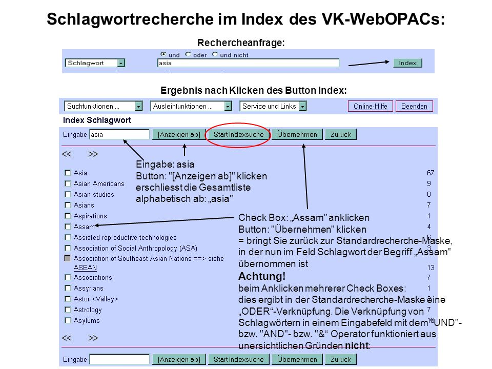 Schlagwortrecherche im Index des VK-WebOPACs: Ergebnis nach Klicken des Button Index: Rechercheanfrage: Eingabe: asia Button: