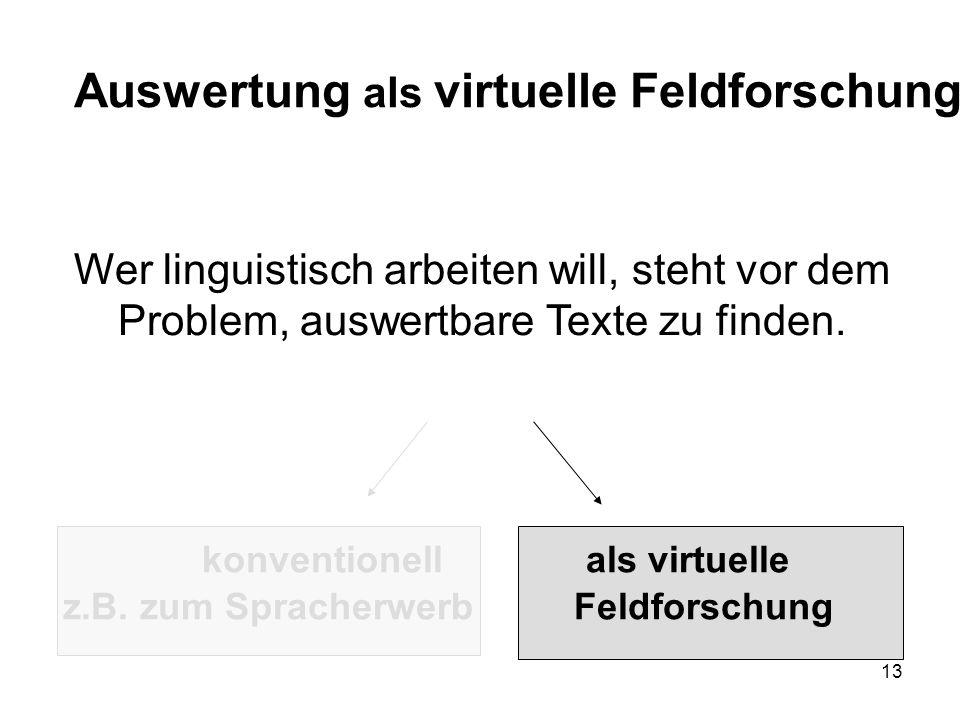 13 Wer linguistisch arbeiten will, steht vor dem Problem, auswertbare Texte zu finden.