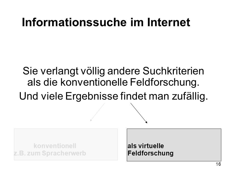 16 Informationssuche im Internet Sie verlangt völlig andere Suchkriterien als die konventionelle Feldforschung.