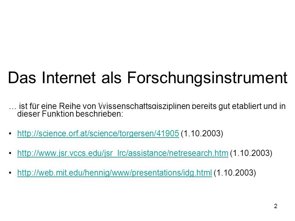 2 … ist für eine Reihe von Wissenschaftsdisziplinen bereits gut etabliert und in dieser Funktion beschrieben: http://science.orf.at/science/torgersen/41905 (1.10.2003)http://science.orf.at/science/torgersen/41905 http://www.jsr.vccs.edu/jsr_lrc/assistance/netresearch.htm (1.10.2003)http://www.jsr.vccs.edu/jsr_lrc/assistance/netresearch.htm http://web.mit.edu/hennig/www/presentations/idg.html (1.10.2003)http://web.mit.edu/hennig/www/presentations/idg.html Wie wird es in der Afrikanistik als solches eingesetzt.