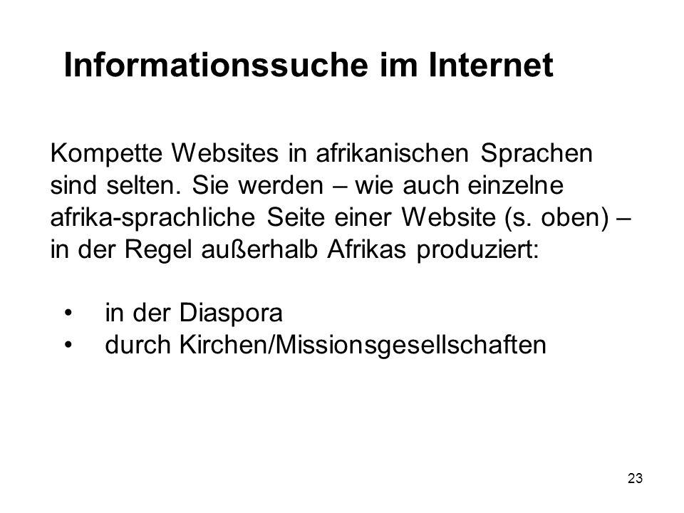23 Informationssuche im Internet Doch es ist nicht einfach, Texte in afrikanischen Sprachen zu finden.