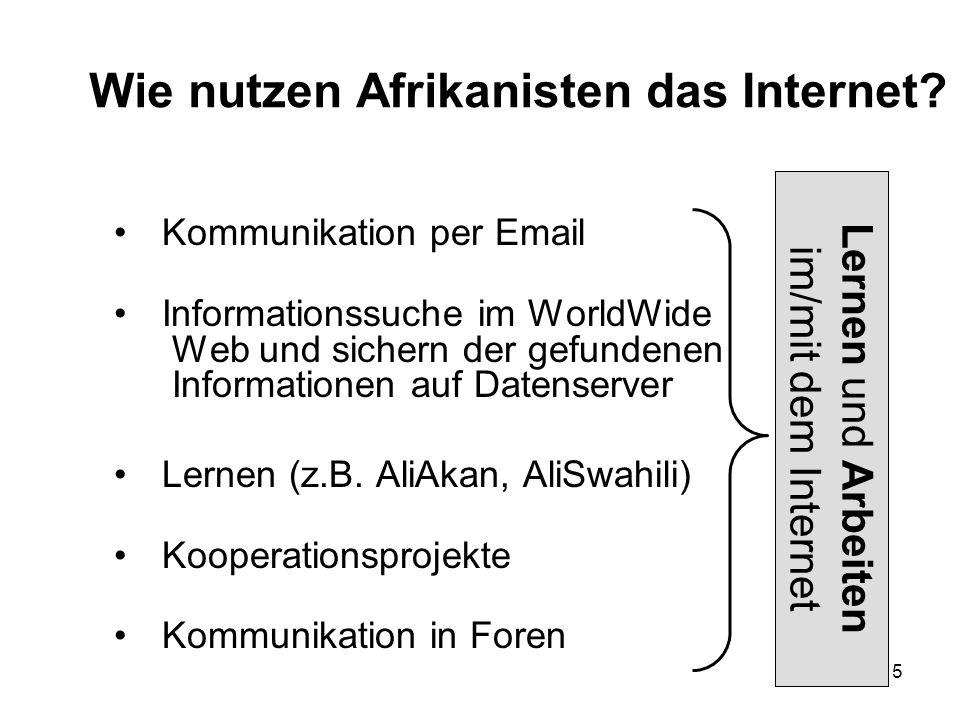 5 Wie nutzen Afrikanisten das Internet.