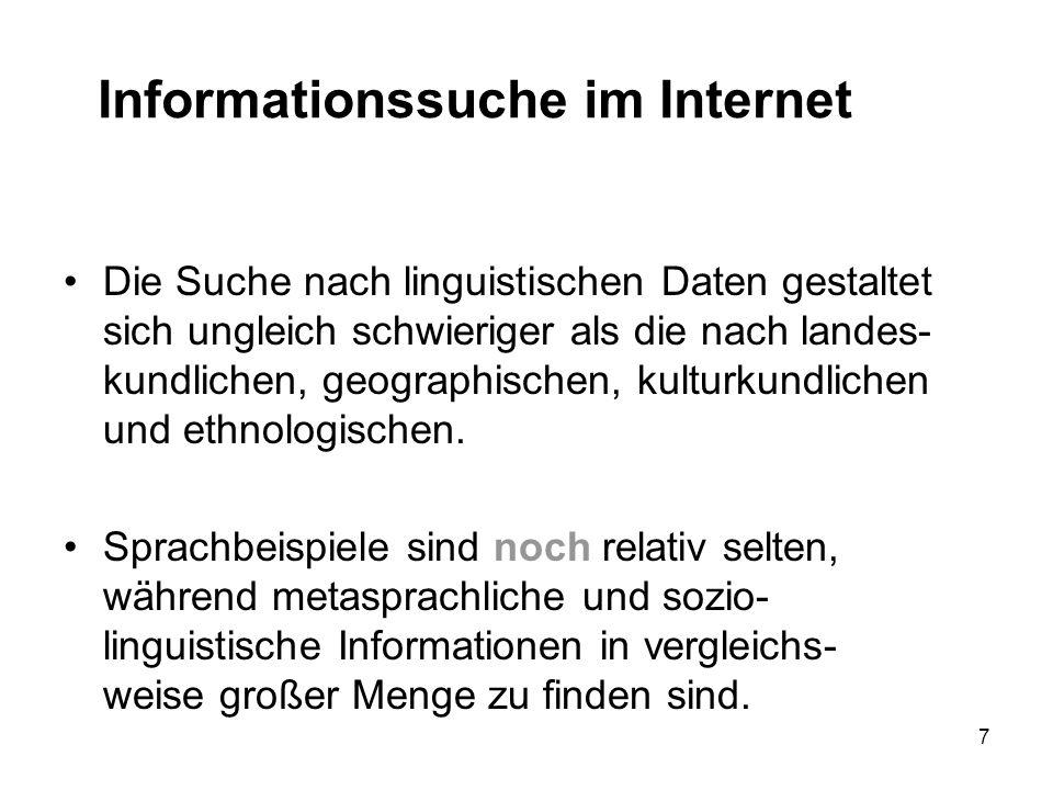 7 Informationssuche im Internet Die Suche nach linguistischen Daten gestaltet sich ungleich schwieriger als die nach landes- kundlichen, geographischen, kulturkundlichen und ethnologischen.