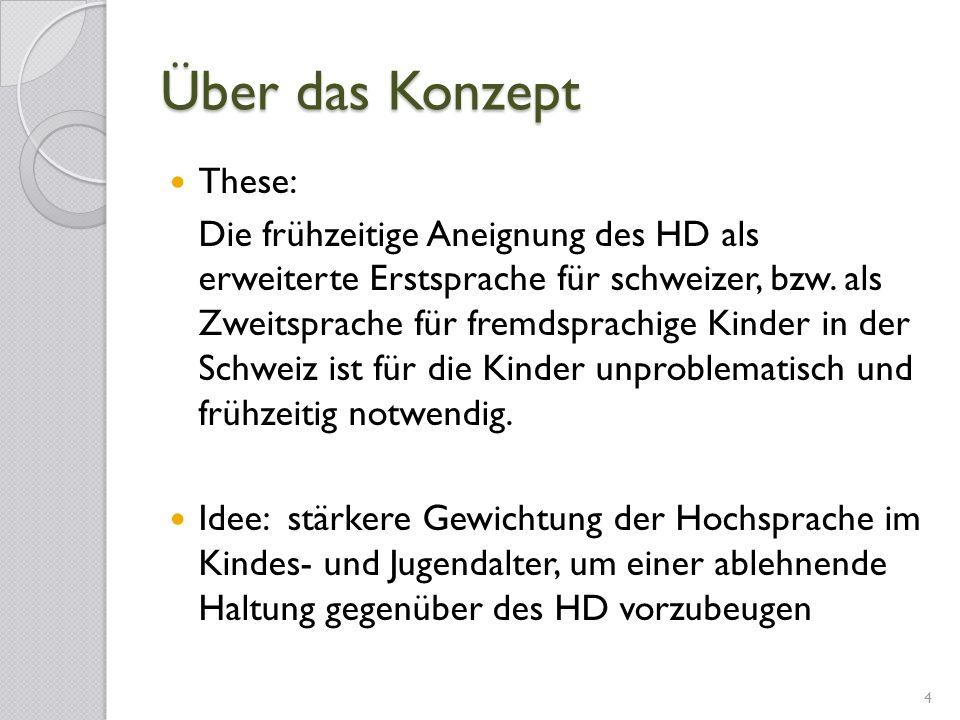Über das Konzept These: Die frühzeitige Aneignung des HD als erweiterte Erstsprache für schweizer, bzw. als Zweitsprache für fremdsprachige Kinder in