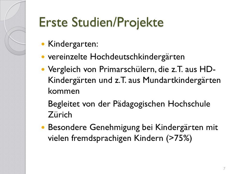 Erste Studien/Projekte Kindergarten: vereinzelte Hochdeutschkindergärten Vergleich von Primarschülern, die z.T. aus HD- Kindergärten und z.T. aus Mund