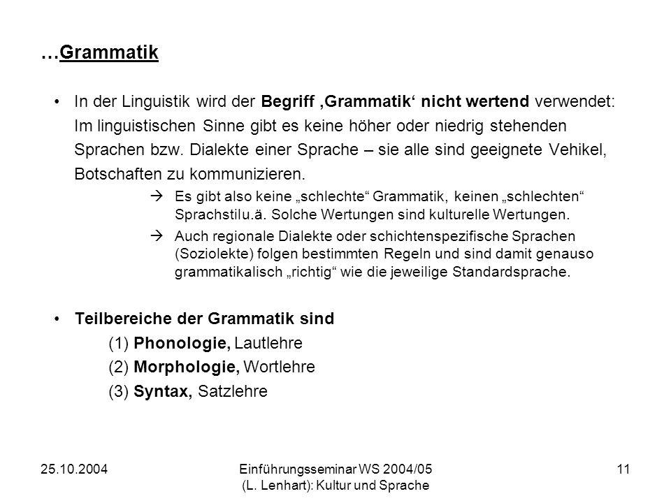 25.10.2004Einführungsseminar WS 2004/05 (L. Lenhart): Kultur und Sprache 11 …Grammatik In der Linguistik wird der Begriff Grammatik nicht wertend verw