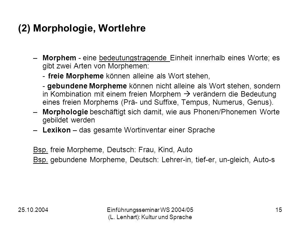 25.10.2004Einführungsseminar WS 2004/05 (L. Lenhart): Kultur und Sprache 15 (2) Morphologie, Wortlehre –Morphem - eine bedeutungstragende Einheit inne