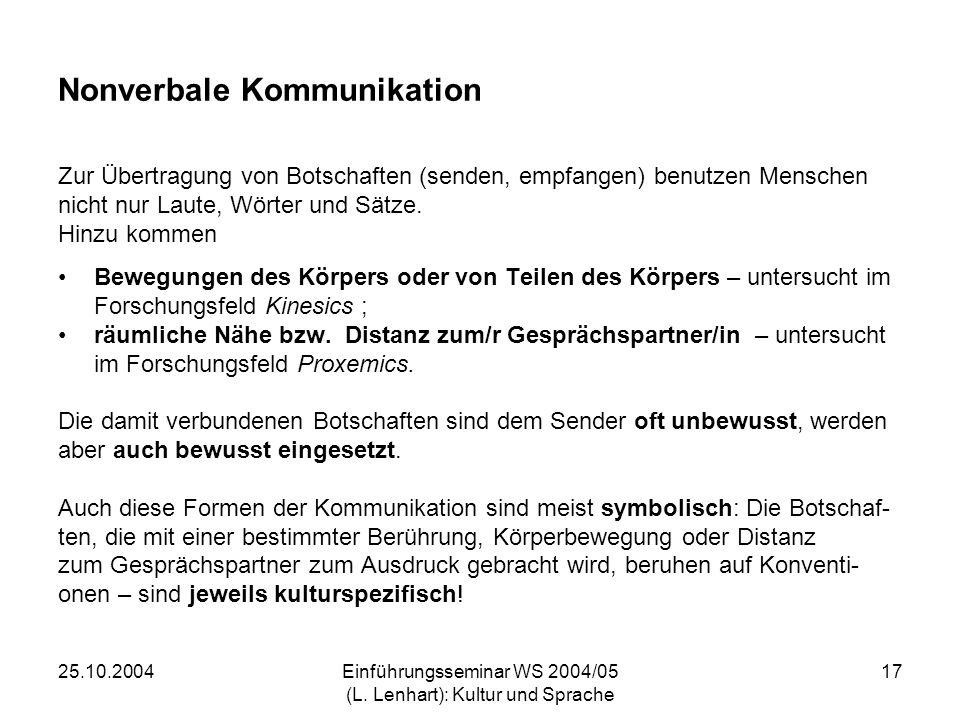 25.10.2004Einführungsseminar WS 2004/05 (L. Lenhart): Kultur und Sprache 17 Nonverbale Kommunikation Zur Übertragung von Botschaften (senden, empfange