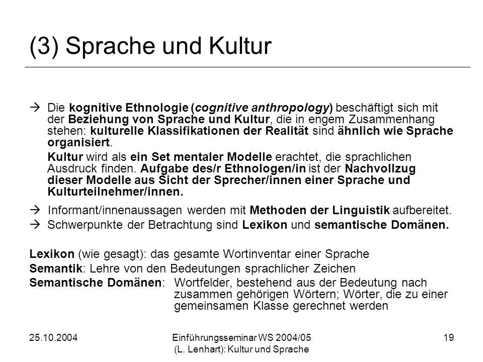 25.10.2004Einführungsseminar WS 2004/05 (L. Lenhart): Kultur und Sprache 19 (3) Sprache und Kultur Die kognitive Ethnologie (cognitive anthropology) b
